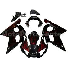 Red Flame Black Fairing Body Cowl Kit For Yamaha YZF R6 1998 1999 2000 2001 2002