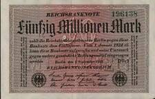 1923 Germany Weimar Republic Hyper Inflation 50.000.000 Mark Banknote