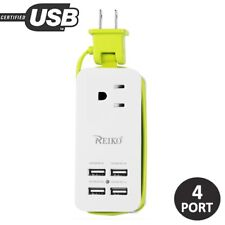 Portable Charging Station w/ 4 USB Ports Type A 1A/2A Smartphone Tablet Green