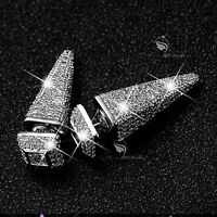 18k white gold gf made with SWAROVSKI crystal stud statement earrings 925 silver
