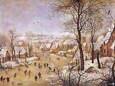 Dipinto paesaggio BRUEGHEL Winter Bird trappola grandi art print poster lf1571