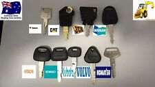 9 x Excavator Plant Digger Keys Mini Set BOBCAT JCB KUBOTA HITACHI VOLVO KOMATSU