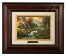 Thomas Kinkade Mountain Retreat - Brushwork (Burl Frame)