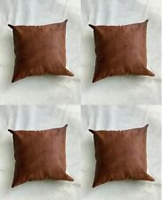 Set of 4 Wholesale Deal Cowhide Cushion Covers Brown Cow Skin Leather Pillow