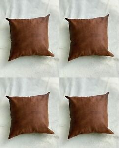 Cowhide Cushion Covers Brown Cow skin pillow Case Hairon leather pillow Set of 4
