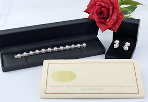 Armband Ohr ear Clips bracelet absolut Premium Perlen Brillanten 7,13 Karat ct