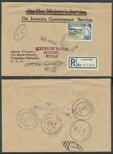 JAMAICA 1963 OFFICIAL REGISTERED COVER TO US OJGS (ID:621/D27136)