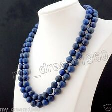 Genuine Natural 10mm Lapis Lazuli Round Beads Necklace 33''AAA
