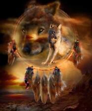 Native American Dream Catcher Prairie Wolves Borderless 8.5x11 Matte Art NA-532
