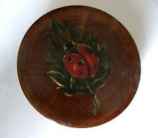 Ancienne boite a bijoux en bois ronde coccinelle peinte french antique box