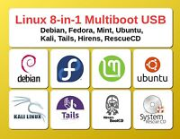 8-in-1: Linux Mega Pack Linux Collection Multiboot Flash Drive Live USB 16GB