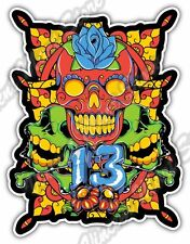 "Lucky 13 Skull Flower Art Gift Car Bumper Tool Box Vinyl Sticker Decal 3.8""X5"""