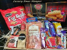 CHRISTMAS EVE PRESENT GIFT HAMPER HIM HER CHOCOLATES CAKE TEA COFFEE FOOD BASKET