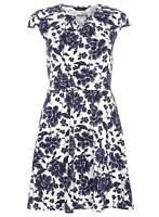 Dorothy Perkins Womens White Navy Blue Summer Floral Keyhole Dress UK 6