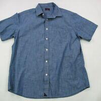 Mens UNTUCKit Adult Men's Large Short Sleeve Blue Cotton Wrinkle Free