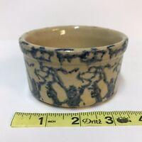 Vintage R.R.P. RRP Roseville OH Pottery Crock Dish Spongeware Blue Custard Cup