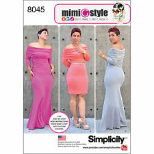 Simplicity 8045 Plus Size 20W--28W Mimi G Style Off Shoulder Knit Dress Uncut