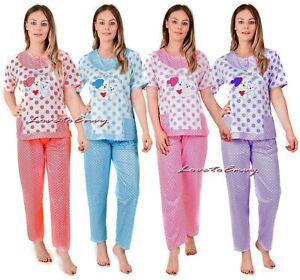 Ladies Short Sleeve Pyjama Set 100% Cotton Womens Cosy Teddy Nightwear PJ Set