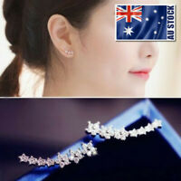 Lady's 925 Silver Cute Elements Crystal Snowflake Stud Earrings Rose Gold Colour