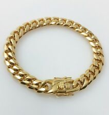 Men 18K Yellow Gold Stainless Steel Box Clasp 10mm Miami Cuban Link Bracelet