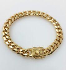 Men 18K Yellow Gold Stainless Steel Box Clasp 10mm Miami Cuban Link Bracelet