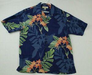 Tommy Bahama Hawaiian Shirt Men's M Button Up Short Sleeve 100% Silk, Pocket