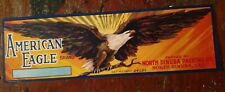 AMERICAN EAGLE GRAPE CRATE LABEL ORIG. VINTAGE 1940s North Dinuba CALIFORNIA