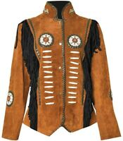 Western Cowboy Women's Fringed Suede Leather Jacket  Camel Brown