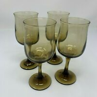 Wine Glasses Brown Glass Set of Four Vintage Mid Century Modern Barware 8 ounces