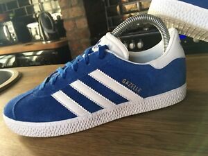 VIBRANT BLUE ADIDAS GAZELLE UK 4 FANTASTIC USED CONDITION HAMBURG SAMBA JEANS