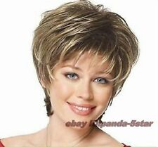 Haute qualité Mode blonde brune mélangée Femmes court droit Cosplay perruque