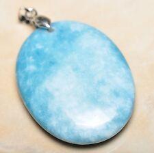"Pale Blue Caribbean Larimar Jasper 925 Sterling Silver Clasp 2"" Pendant #P12188"