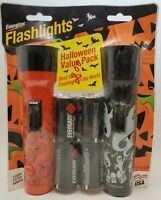 Vintage Halloween Flashlights Pumpkins Ghosts Black Orange Pair USA New 2000