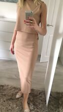 Topshop Uk12 Dress Fitted Stretch Sexy Bodycon Straight Calf Nude Salmon