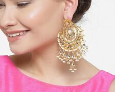 Indian Fashion White Earrings Kundan Set Bollywood Pearl Wedding Women Jewelry