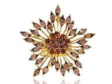 Antique Cut Gold Topaz Crystal Rhinestone Star Dust Sparkle Burst Ring