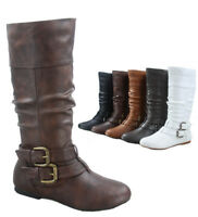Women's Round Toe Flat Causal Mid Calf Zip Buckle Boots Shoes Size 5 - 11 NEW