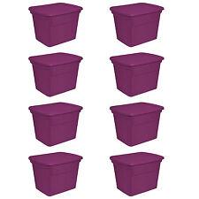 Sterilite 18 Gallon Plastic Storage Container Tote with Lid, Fuchsia (8 Pack)