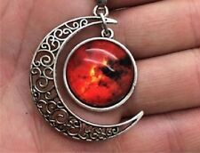 Glass Galaxy Planet Crescent Moon Pendant Necklace A15 UK Seller