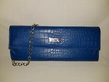 CHI Blue Handbag Clutch Purse Medium Faux Snake Skin