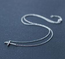925 Sterling Silver Sideways CZ Cross Charm Pendant Necklace Women Gift A2363