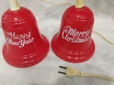Vintage Christmas Hard Plastic 2 Red Bells Light Up ~ Merry Christmas ~ Works
