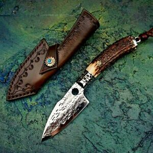 Drop Point Knife Hunting Combat Tactical Damascus Steel Antler Handle Handmade S