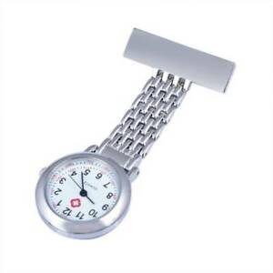 Stainless Steel Nurse Watch Quartz Silver Fob Pocket Brooch + FREE 2 BATTERIES