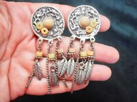Vintage Antiqued Silver Tone Abstract Design Feather Clip Earrings