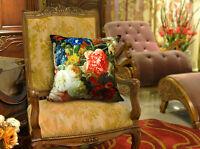 """Decorative Velvet Pillow Cover Floral Black Flower Pillow Double Sides 18"""""""