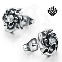 Silver stud made with clear swarovski crystal earrings soft Gothic flower unisex