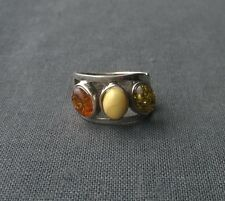 STERLING SILVER 3 STONE AMBER RING WITH EGG YOLK SIZE Q 1/2  SOLID 925