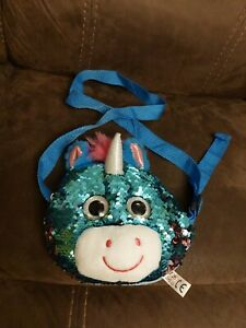 Unicorn bag sequined long strap zip up kids adults fun accessory