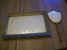 Antique Decorative Brass Frame Vanity Tray With Hand Mirror
